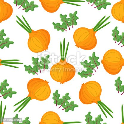 istock Seamless pattern onion with green onion, cutaway onion top view isolated on background, flat lay for culinary blog, video recipe screensaver, patchwork fabric. Vector illustration 1314571650