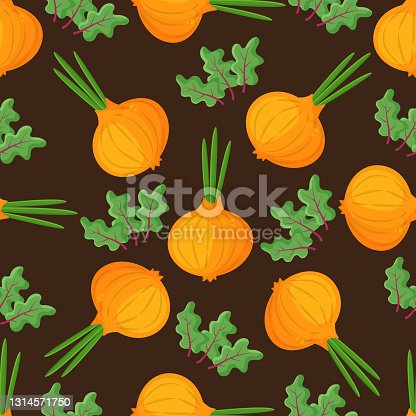 istock Seamless pattern onion with green onion, cutaway onion top view isolated on background, flat lay for culinary blog, video recipe screensaver, patchwork fabric. Vector illustration 1314571750