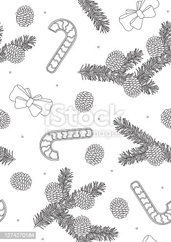 Seamless pattern or coloring page with Christmas needles, pine cones, bows, sweets A4 size, outline vector stock illustration of random branches of a Christmas tree
