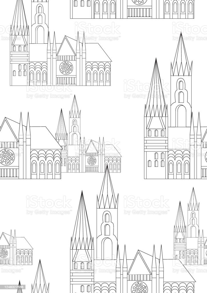 - Seamless Pattern Or Coloring Page With Gothic Church As Anti Stress Coloring  Book For Adults Outline Or Colorless Vector Stock Illustration With  Building In Europe Stock Illustration - Download Image Now - IStock