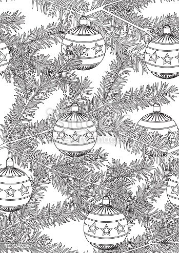 Seamless pattern or coloring page with needles of a christmas tree and balls for adults, outline or linear vector stock illustration as anti stress therapy for christmas