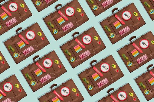 Seamless Pattern  Packing travelers man suitcase