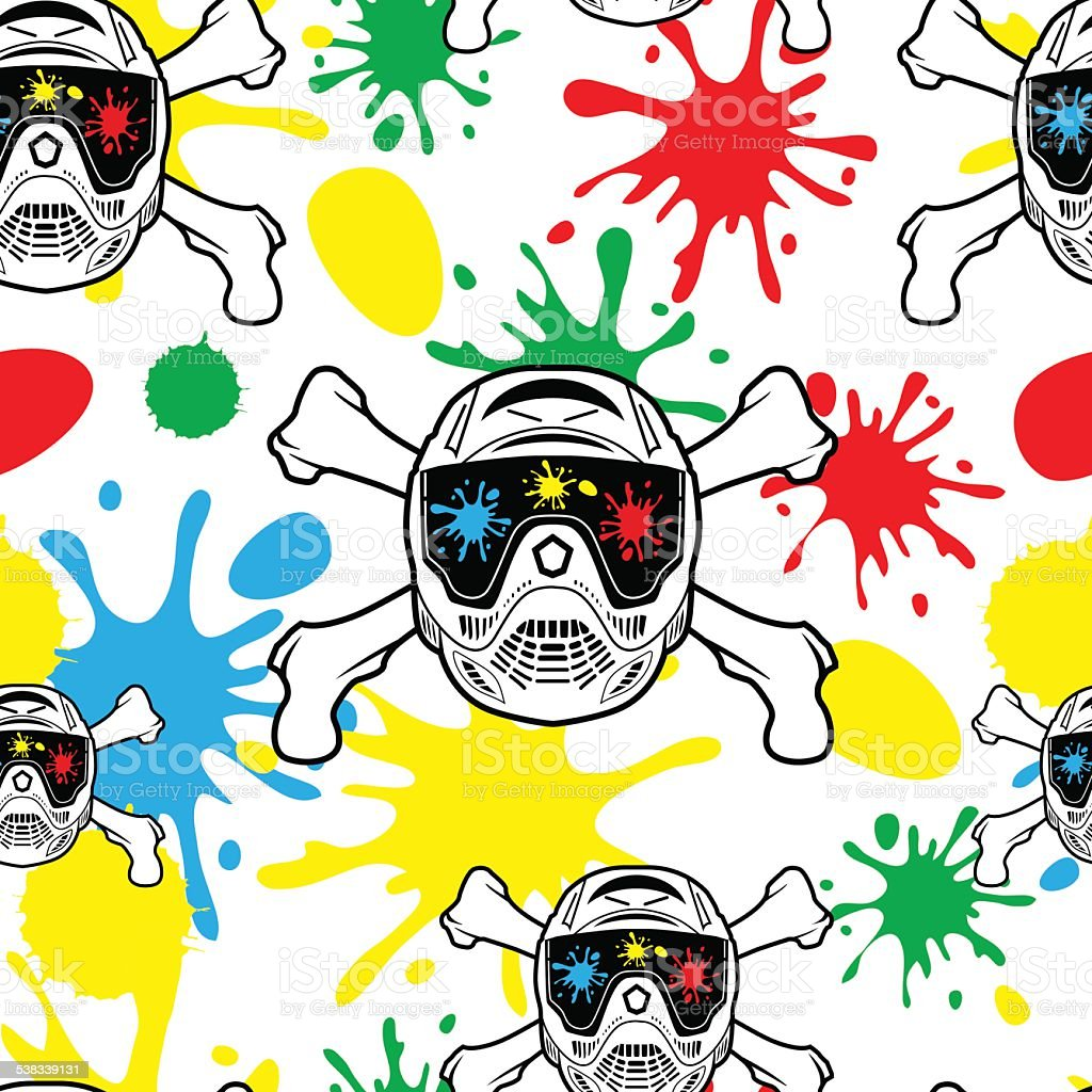 Seamless pattern paintball. Spray paint and helmets. vector art illustration