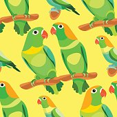 seamless pattern parrot lovebirds couple sitting head turned gre