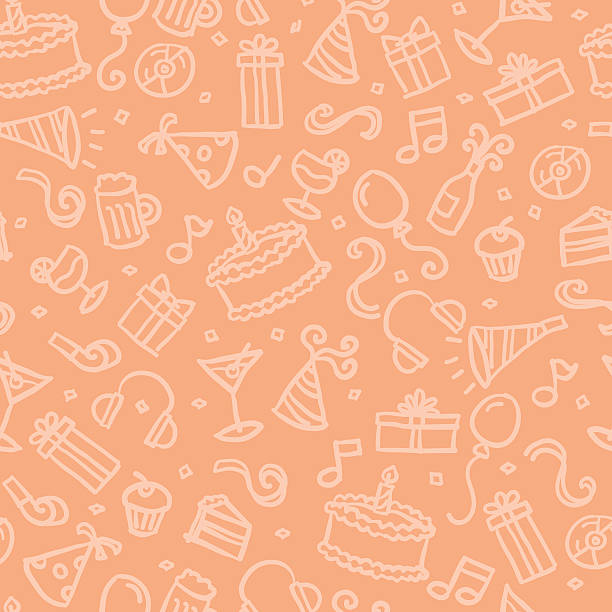 seamless pattern: party hand drawn, vector pattern with a party theme. Seamless, so you can just drop into your swatches and use as a tiling fill. birthday background stock illustrations