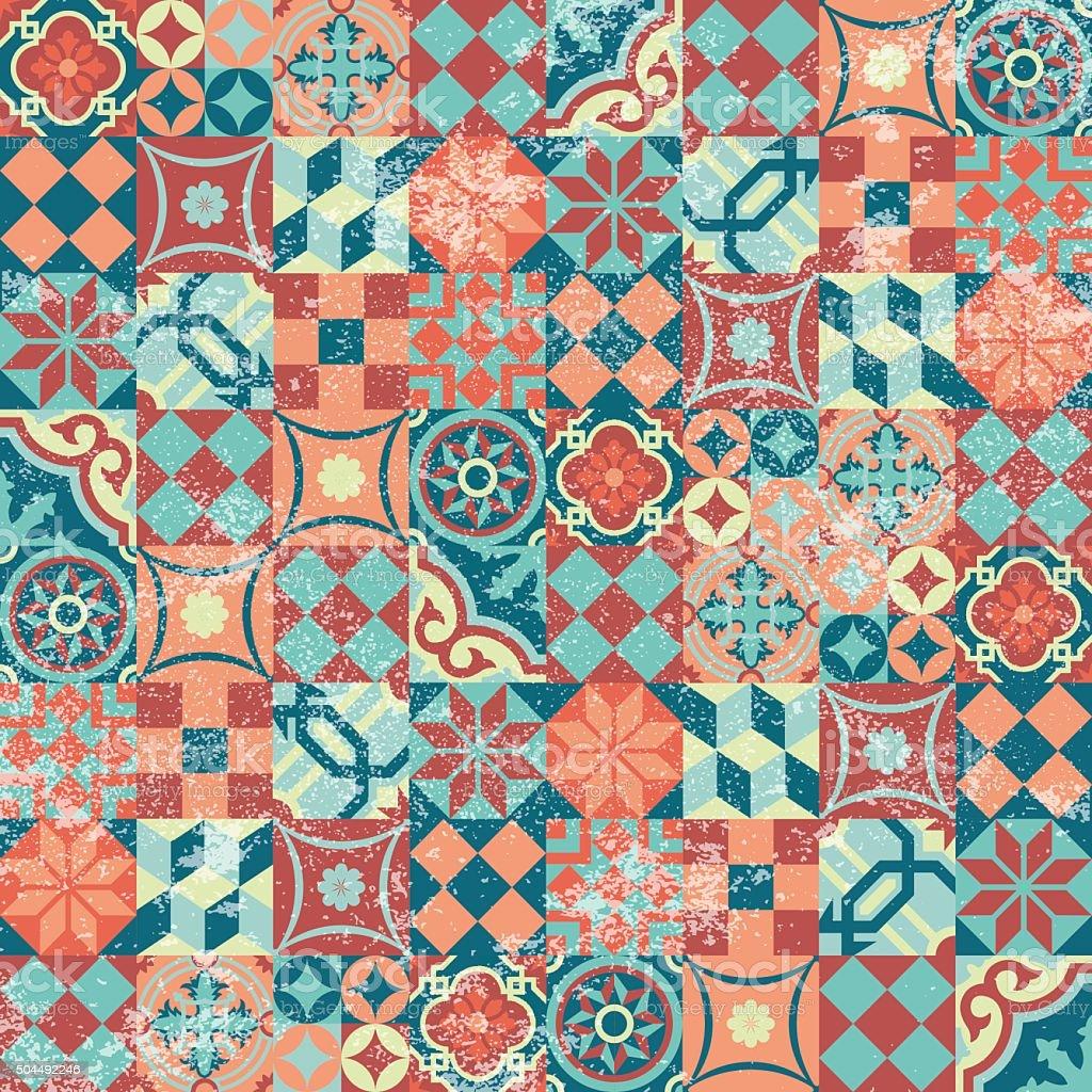 Seamless pattern patchwork vintage mosaic oriental vector art illustration