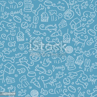 pet and pet related objects in a seamless pattern. just drop into your illustrator swatches and use as a tiled fill. more similar images: