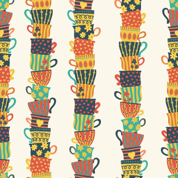 seamless pattern piles stacked colorful tea cups - stacked tea cups stock illustrations, clip art, cartoons, & icons