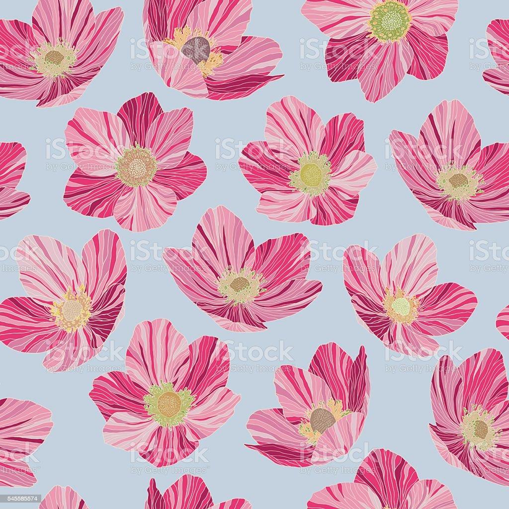 Seamless Pattern Pink Flowers Light Blue Background Pop Art Style