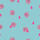 Seamless pattern small pink rose flower, rain drop on blue background. Valentines day illustration ornament, cute love concept, girly pretty retro romantic raindrop print pastel color, vector eps 10