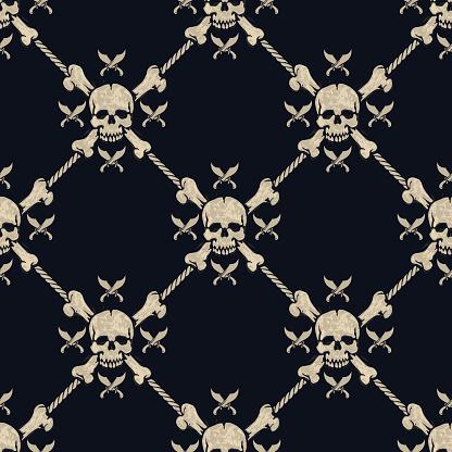 seamless pattern pirate skulls