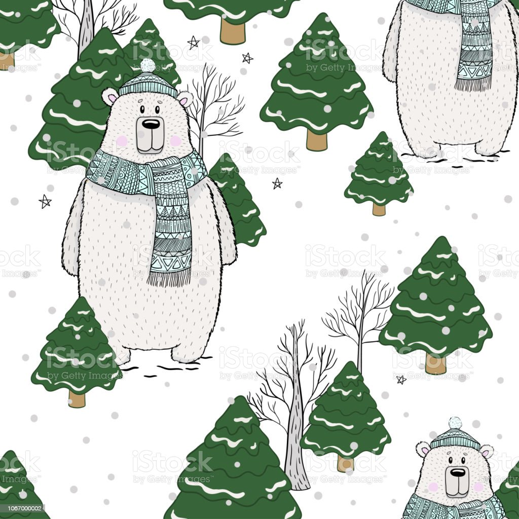 Seamless Pattern Polar Bear Winter Season Drawing Vector