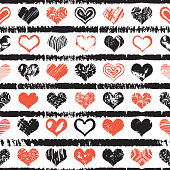 Seamless pattern print of grange hearts. World kiss day, Valentine's day endless design background. Vector.