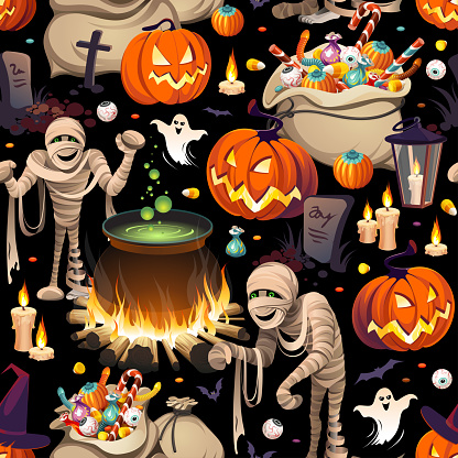 Seamless pattern - pumpkins, mummies and bags of colorful Halloween sweets for children: candy, chocolate, jelly isolated on black background.