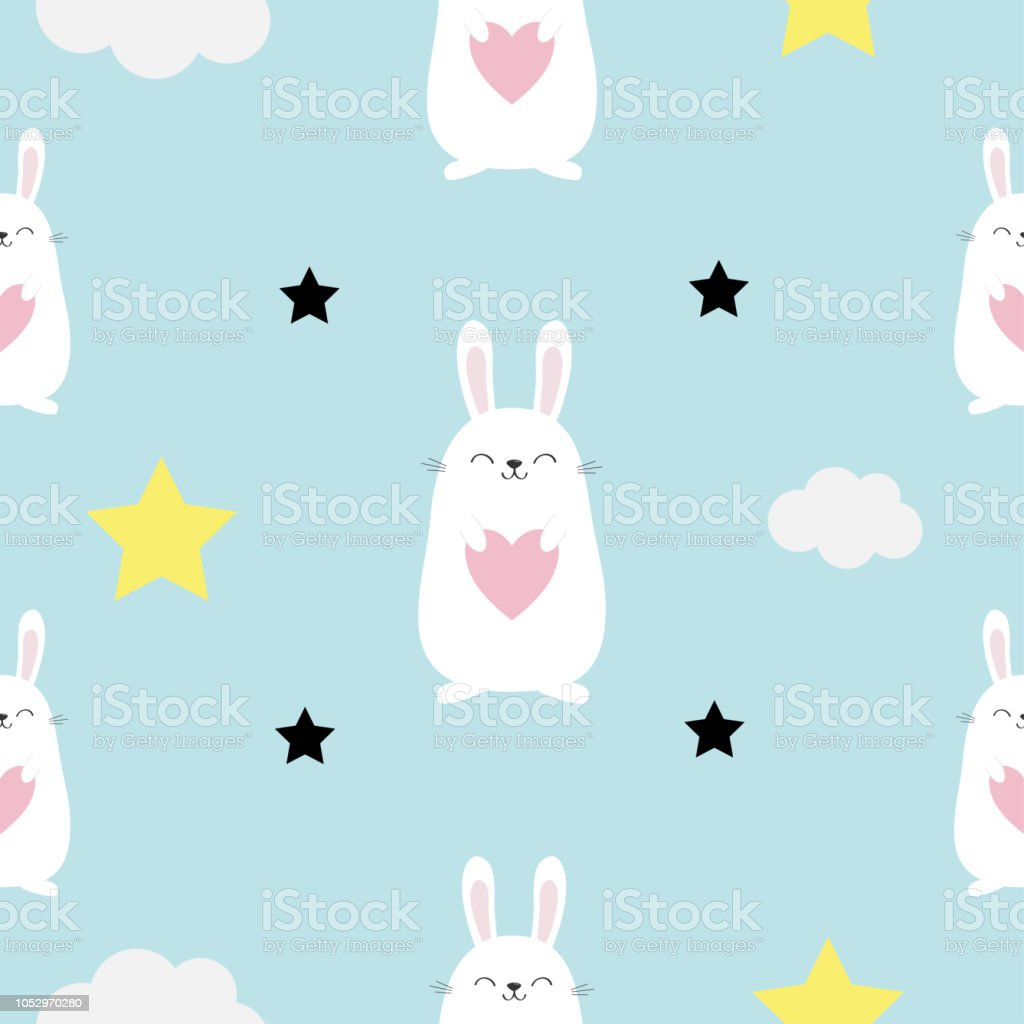 Seamless Pattern Rabbit Hare Head Heart In Hands Cloud Star Shape