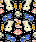 istock Seamless pattern. Rabbit, skull, eye, rose and ribbon. Not your babe. Print on tshirts and other materials. Set of stickers, pins, patches and handwritten notes collection in cartoon. 868681950