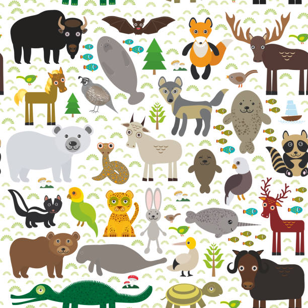 nahtlose muster tabak eagle skunk sittich jaguar hare narwal elk - bergziegen stock-grafiken, -clipart, -cartoons und -symbole