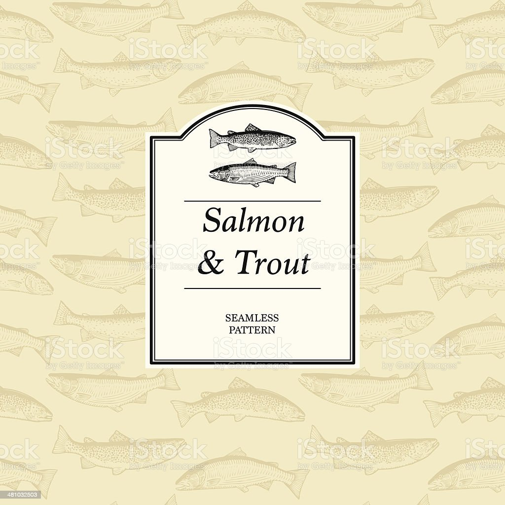 Seamless Pattern - Rainbow Trout, Brown Trout and Atlantic Salmon vector art illustration