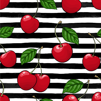 seamless pattern red cherry with leaf on black and white watercolor stripes. design holiday greeting card and invitation of seasonal summer holidays, beach parties, tourism and travel