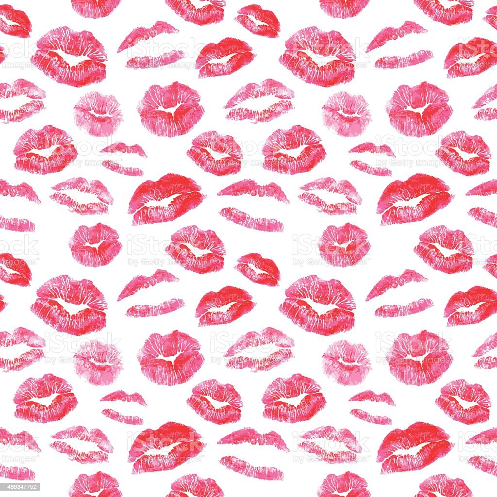 Seamless pattern - red lips kisses prints background vector art illustration