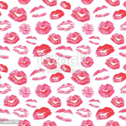 Seamless Pattern Red Lips Kisses Prints Background Stock ...