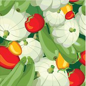 seamless wallpaper for holiday packages featuring ripe tomato vegetable zucchini squash