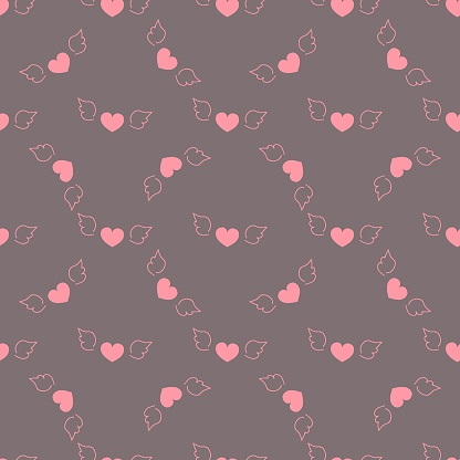 Seamless pattern romantic valentine flying pink hearts with wings dark purple background fabric wallpaper quilting