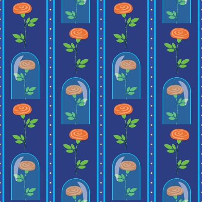Seamless pattern rose under the capa, flat vector stock illustration with rose as texture, wallpaper, background for web