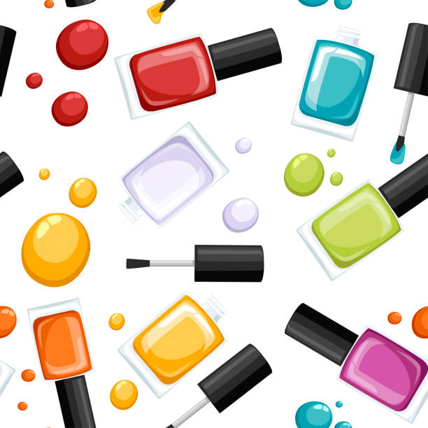 Seamless pattern. Round colored glossy nail polish bottle with black cap. Flat vector illustration on white background. Manicure concept. Opened bottle and drop of nail polish Seamless pattern. Round colored glossy nail polish bottle with black cap. Flat vector illustration on white background. Manicure concept. Opened bottle and drop of nail polish. white nail polish stock illustrations