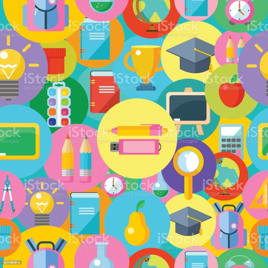 Round Icons Of School Supplies Royalty Free Seamless Pattern