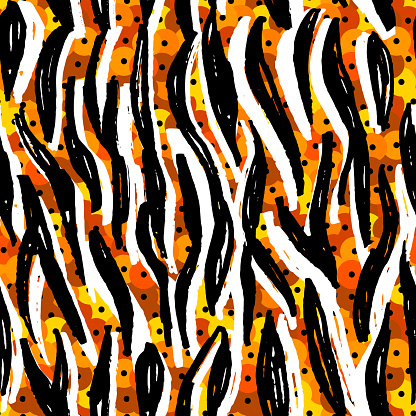 Seamless pattern Round sequins orange black white tiger fur, abstract lines scandinavian style background grunge texture. trend of the season. Can be used for Gift wrap fabrics, wallpapers. Vector
