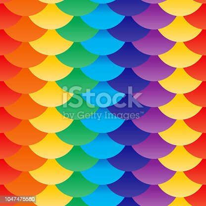 Seamless pattern scales red yellow green blue purple rainbow. Patchwork mosaic oriental geometric ornament. colorful background. Applicable for Banners, Placards, Posters, Flyers. Vector illustration