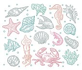Set sea animal. Shell, cuttlefish, coral, oyster, crab, shrimp, seaweed, fish. Vector color engraving vintage illustrations. Isolated on white background.