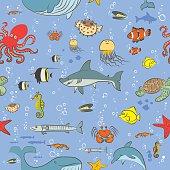 Seamless pattern sea life