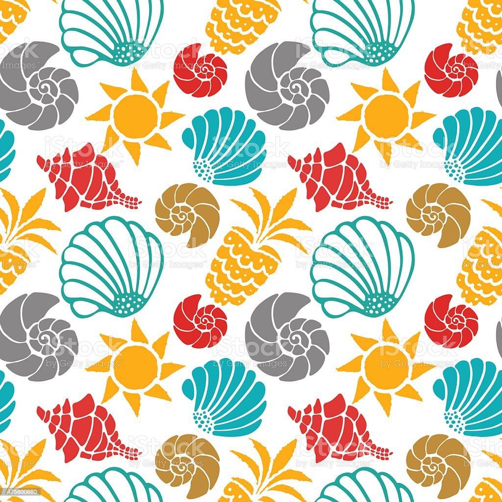 Seamless pattern sea shells, sun, pineapples vector art illustration
