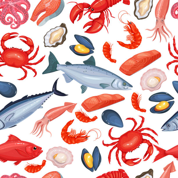 seamless pattern seafood Vector seamless pattern seafood with mussel, fish salmon, shrimp. Lobster, squid, octopus, scallop, lobster, craps, mollusk, oyster, alfonsino and tuna for product design market. mollusk stock illustrations