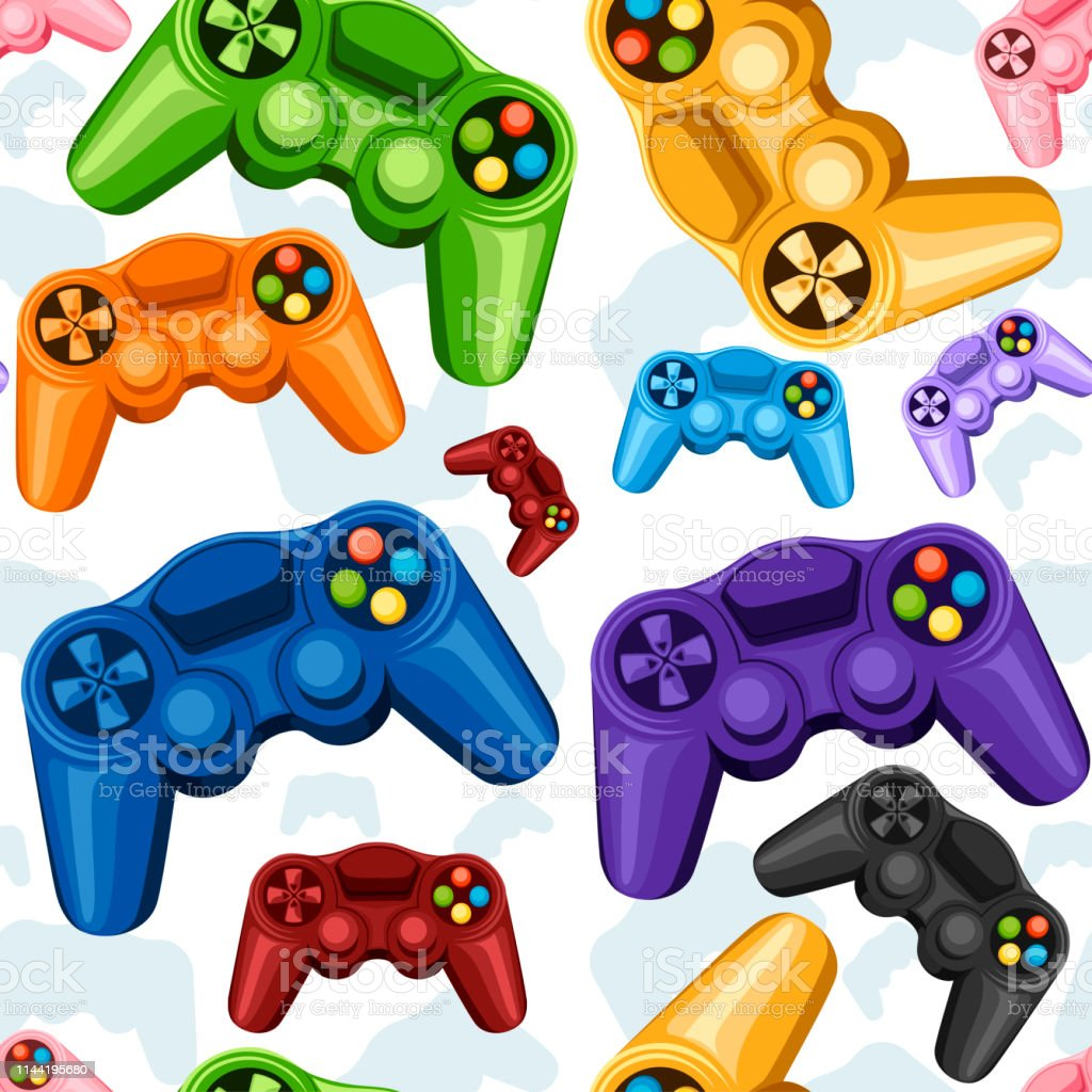 Seamless Pattern Set Of Colorful Wireless Game Pads Video Game