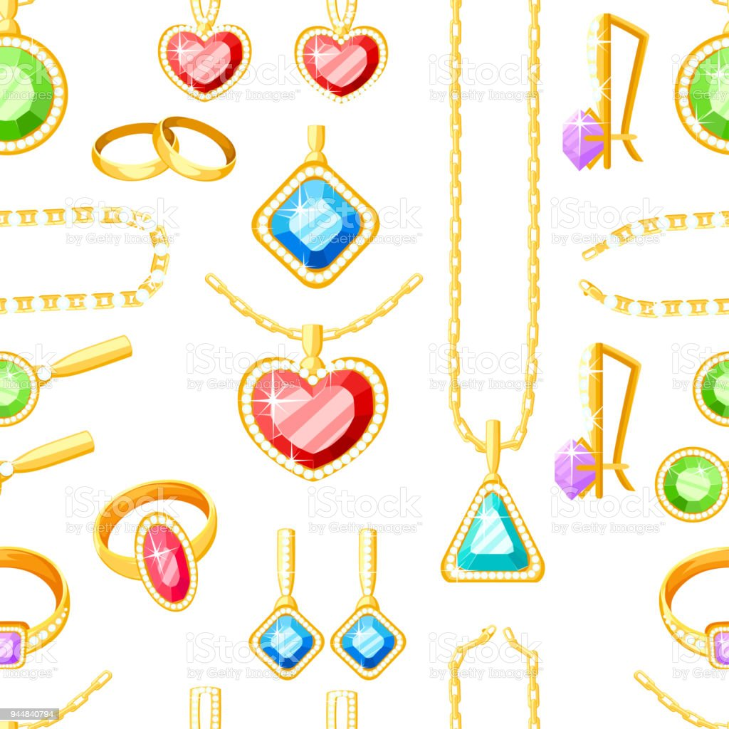 seamless pattern set of golden jewelry golden rings earrings chains