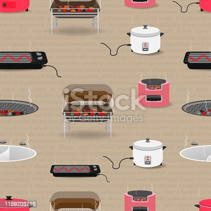 seamless pattern set of kitchen equipment with pan boiler tank toaster charcoal rice cooker. vector illustration eps10