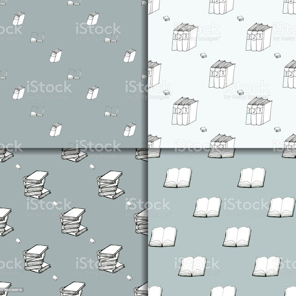 Seamless pattern set with books royalty-free seamless pattern set with books stock vector art & more images of art