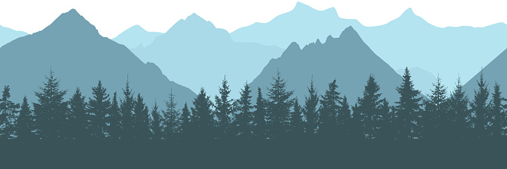 Seamless pattern. Silhouettes of forest and mountain, vector illustration