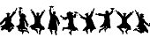 istock Seamless pattern. Silhouettes of happy jumping students graduates at university. Vector illustration. 1215396181
