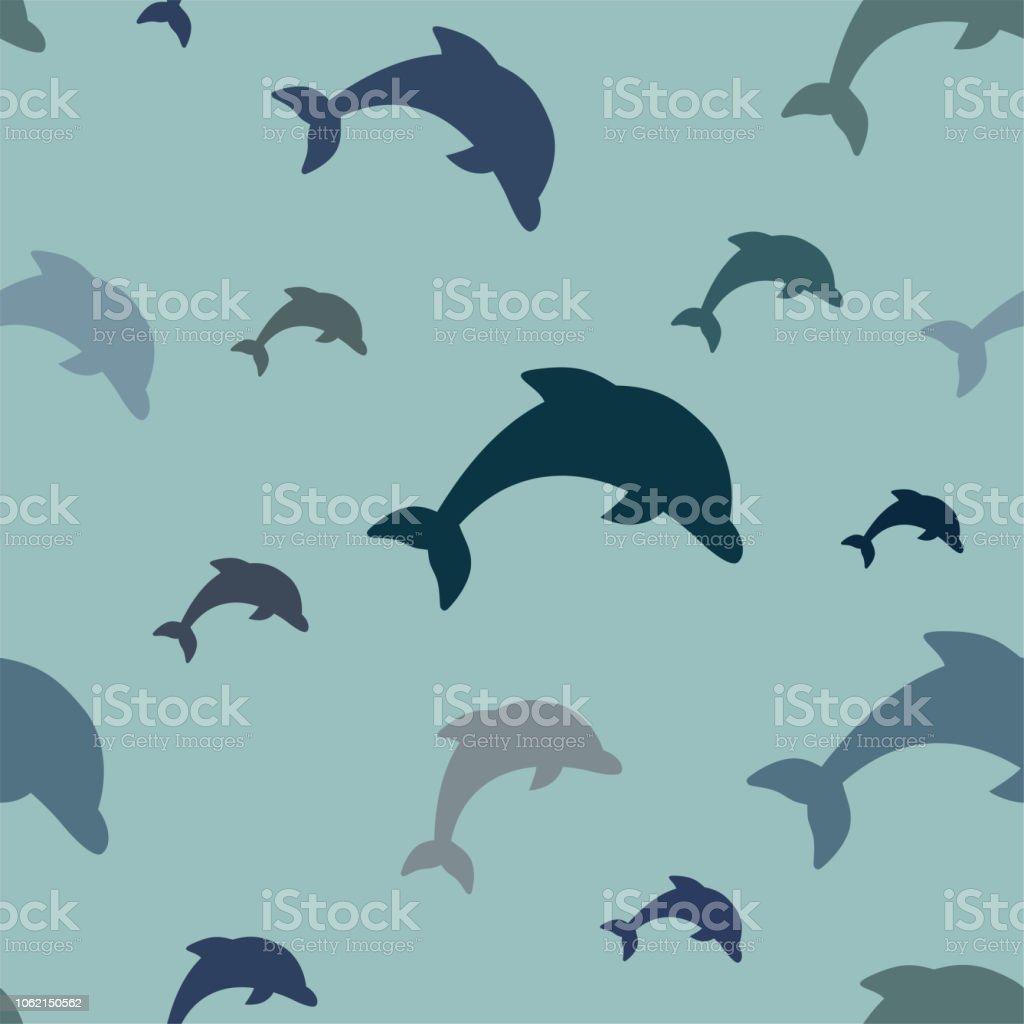シームレス パターン 水色の背景に青の様々 な色合いの簡単なジャンプ