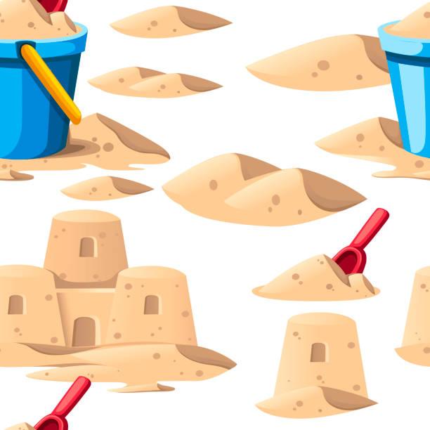 illustrations, cliparts, dessins animés et icônes de motif sans couture. château de sable simple avec le seau bleu et la pelle rouge. conception de dessin animé. illustration plate de vecteur sur le fond blanc - chateau de sable