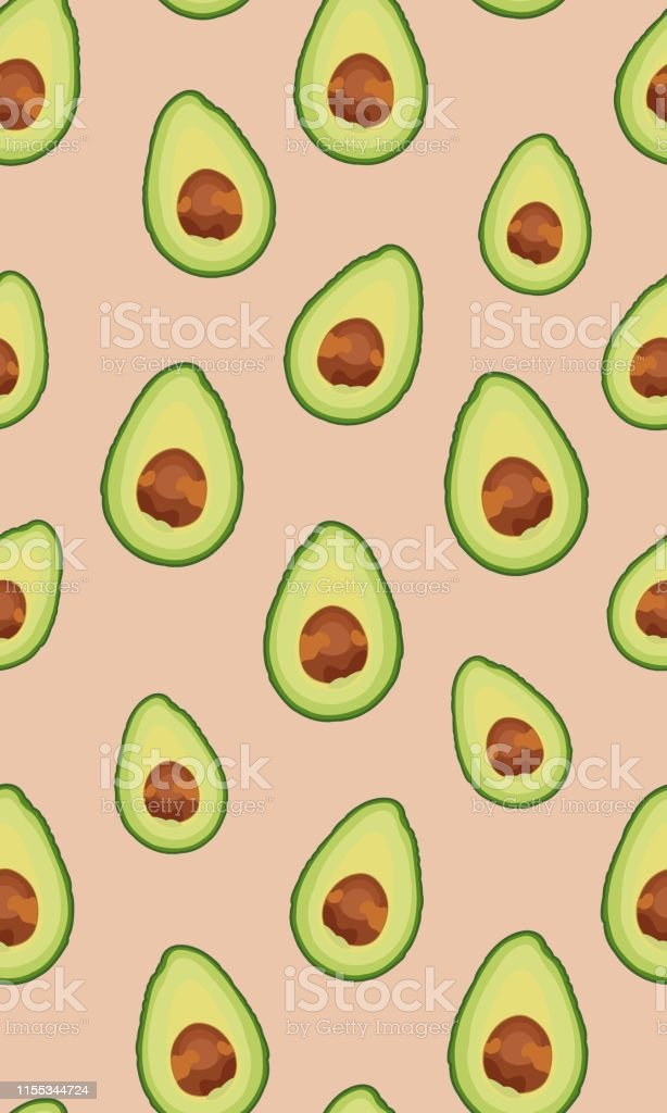 Seamless pattern sliced avocado on rose gold background, Vector...