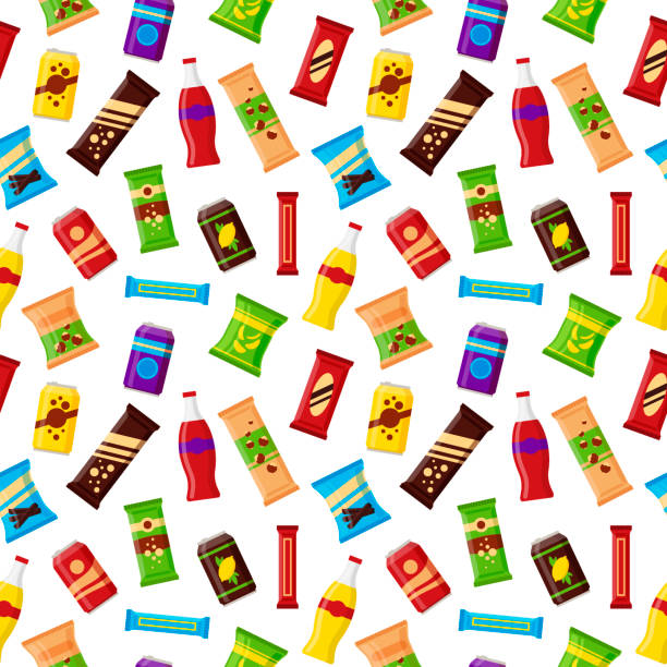 seamless pattern snack product for vending machine. fast food snacks, drinks, nuts, chips, juice for vendor machine bar on white background. flat illustration in vector - empty vending machine stock illustrations
