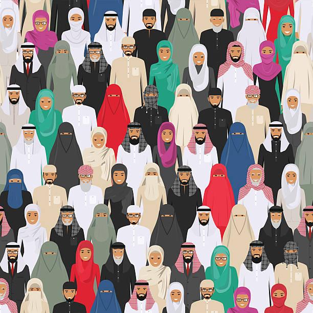 seamless pattern social concept of people communication in flat style. - emirati woman 幅插畫檔、美工圖案、卡通及圖標