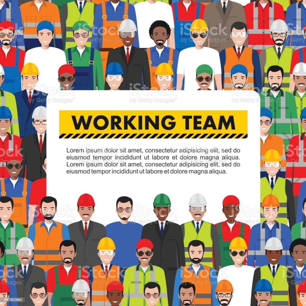 Nahtlose Muster sozialer, Teamwork und Zusammenarbeit Team Konzept der Menschen Kommunikation im flachen Stil. Gruppe von Arbeitnehmern, Bauherren und Ingenieure zusammen stehen. Verschiedener Nationalitäten und Kleidungsstil – Vektorgrafik