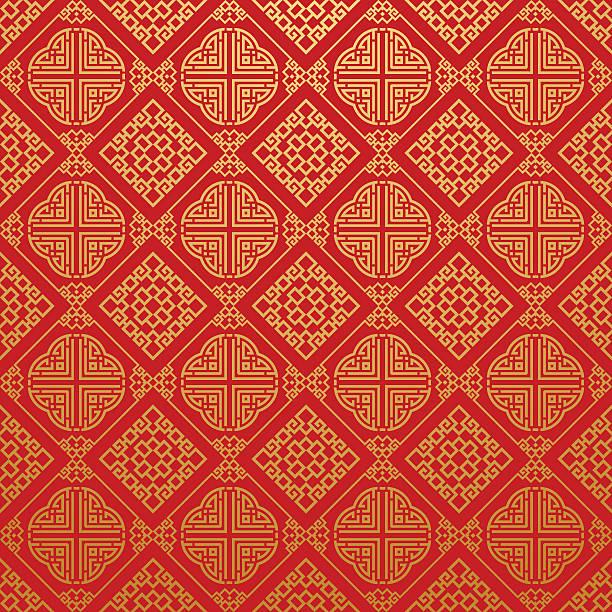 シームレスパターンのスタイリッシュな質感のアジア - 中国点のイラスト素材/クリップアート素材/マンガ素材/アイコン素材