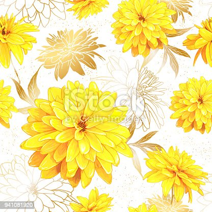 Seamless pattern with flowers of Rudbeckia Laciniata, also called Golden Ball on a white background with sequins. Hand drawn sketch. Template for floral textile design, paper, wallpaper, web.